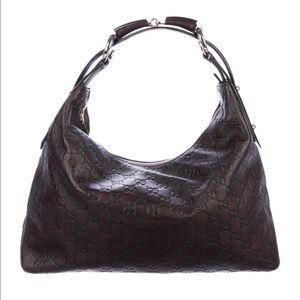 Gucci Brown Medium Horsebit Hobo Handbag
